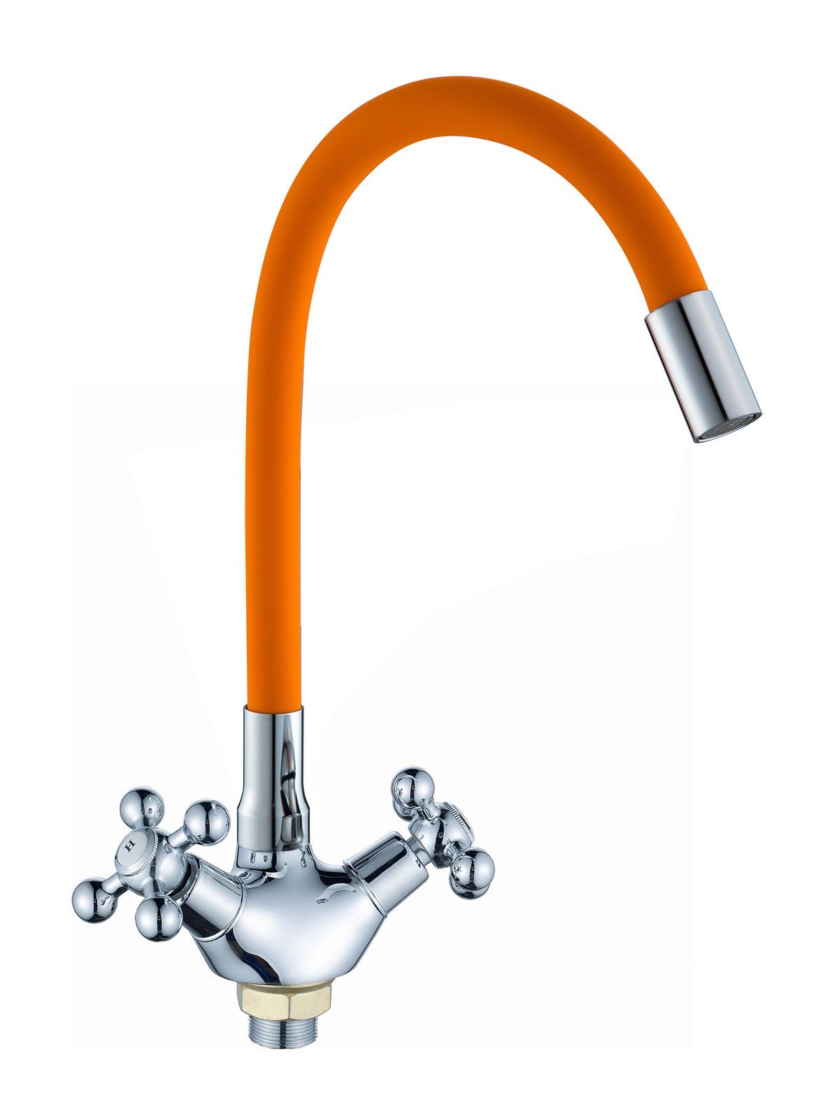 Двухручковый смеситель для кухни 57E51 оранжевый